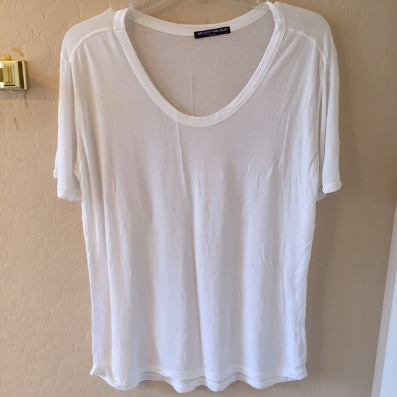 60% off Brandy Melville Tops - Brandy Melville white flowy T-shirt ...