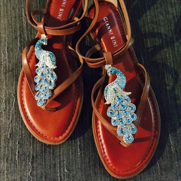 36ccc9fb57d Gianni Bini Shoes - Rusty brown sandals with rhinestone peacocks