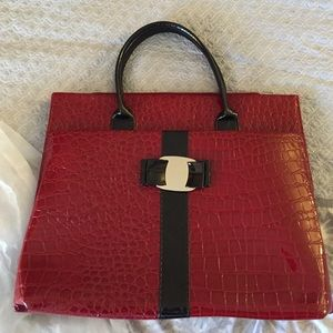 Red croc embossed briefcase/purse