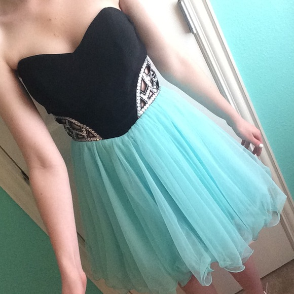 Turquoise and black dress