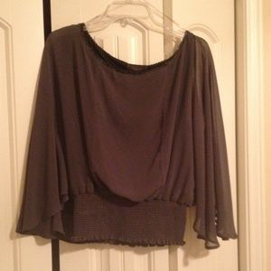 Harper Tops - Grey Blouse with Flutter Sleeves