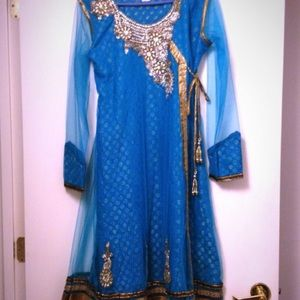 Turquoise and Copper Anarkali