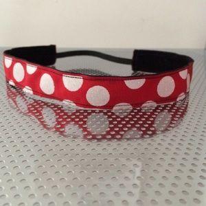 Red polka dot non-slip headband