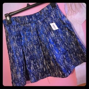 Metallic blue pleated skirt
