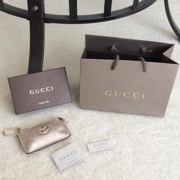 Gucci Coin Purse with Key Chain. Rose Gold. NIB! NWT