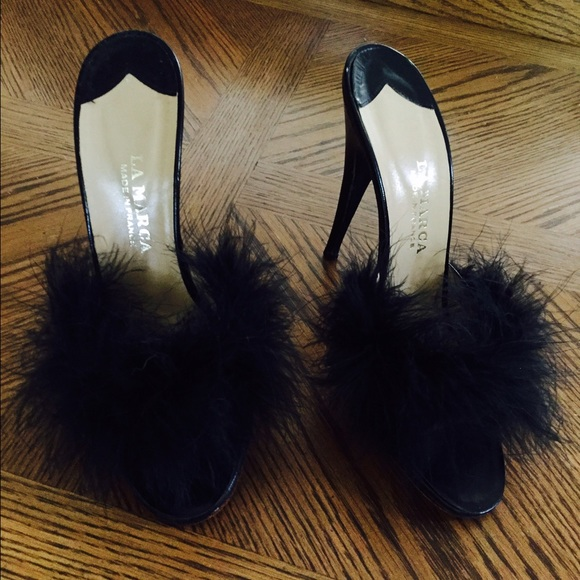 Vintage Shoes Black Stiletto Boudoir Slippers La Marca