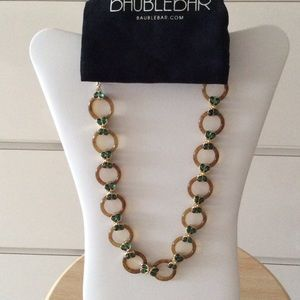 Bauble Bar Jewelry - NWT Bauble bar gold & tortoise necklace, green gem