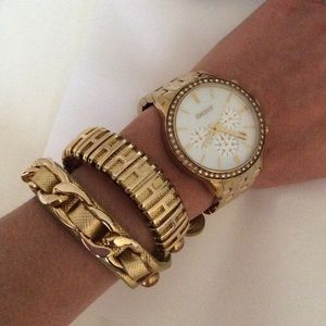 Jewelry - Leather and gold wrap around bracelet