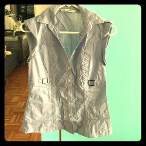 Zara Basic Sleeveless Button Up Top