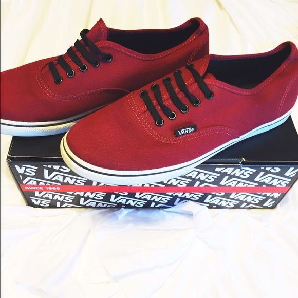 red vans with black shoelaces