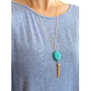 Jewelry - Turquoise Oval Pendant and Tassel Necklace