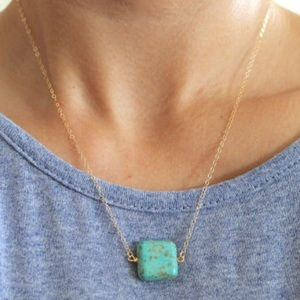 Handmade Turquoise Square Gold Pendant Necklace