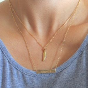 LucyMint Jewelry - Gold Filled Feather Necklace | Charm Necklace