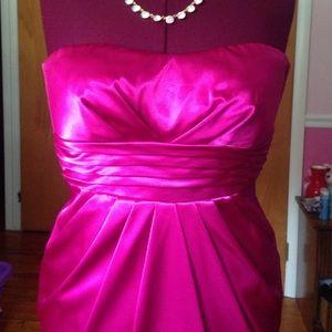 Teeze Me Dresses & Skirts - 💋Dark Blush Pink Satin Sweetheart Pleated Dress💋