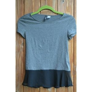 Dark grey top with black chiffon end