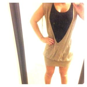 Gold shimmery banded bottom Zara dress size medium