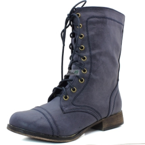83% off Breckelles Boots - Combat Boots / Lace-up Navy Blue / 7.5 ...