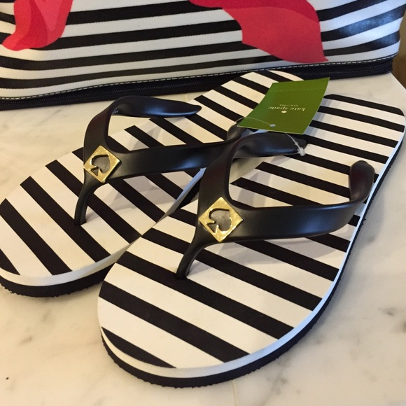 3f87d7247ab0 Kate Spade Flip flops in Black   White stripe. NWT