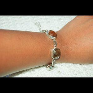 "handmade &handcrafted gemstone jewelry Jewelry - Dark Brown Agate Statement Bracelet 7 1/2"" Length"