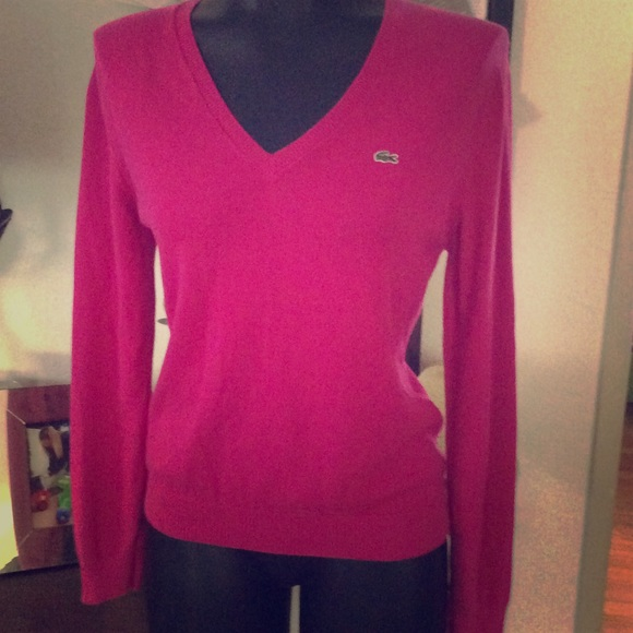 92% off Lacoste Tops - Lacoste Hot pink V neck long sleeve Sweater ...