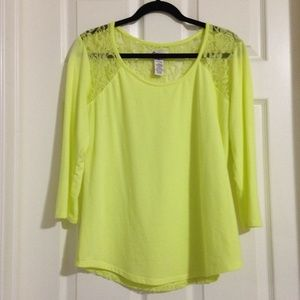SO Tops - SO Yellow Blouse with Sheer Lace Back