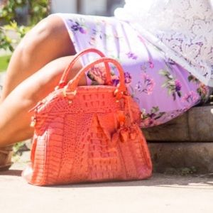 Brahmin Handbags - Brahmin Louise Rose Leather Satchel in Coral.