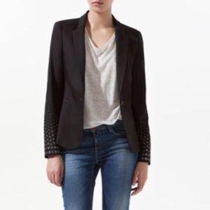 ZARA black silver studded sleeve one button blazer