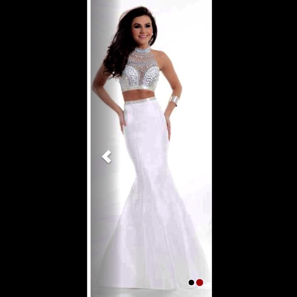 Jovani Dresses | White And Silver 2 Piece Prom Dress Copy | Poshmark