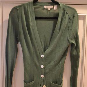 Green inhabit cashmere, button down, cardigan