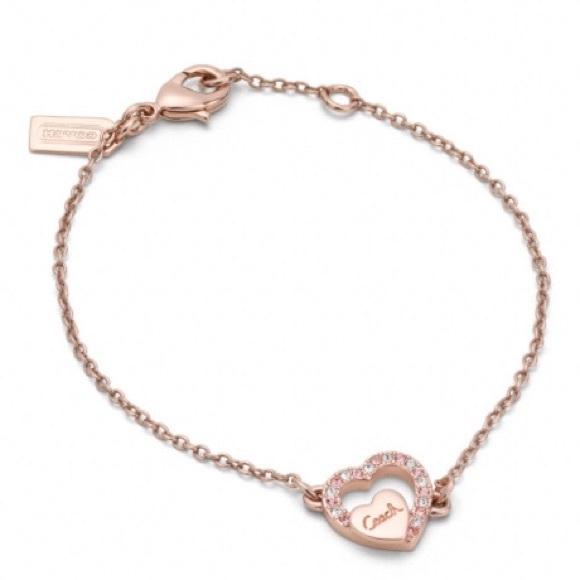 898a9d68a0120 Coach Pave Rose Gold Heart Bracelet NWT
