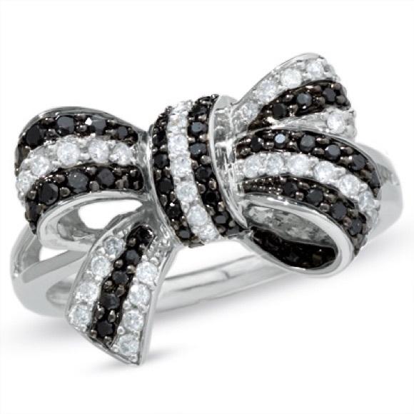 92 zales accessories white black bow ring