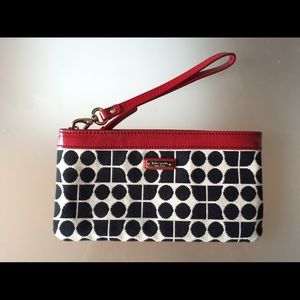 Kate Spade clutch - black / white with red accent