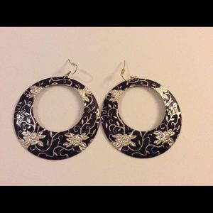 Cute black silver earrings