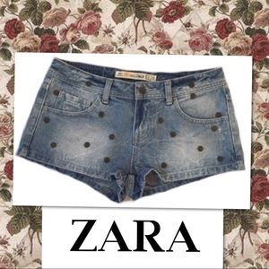 Zara TRF Denim Jean Shorts Sz 2 Studded