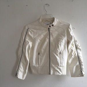 BeBe white moto  bomber jacket