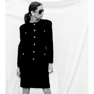 Vintage Chanel Black Boucle Skirt Suit- Small