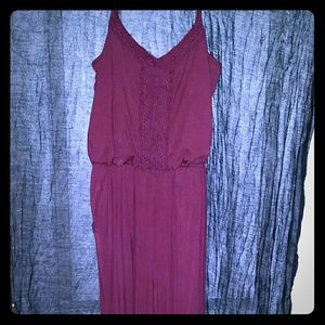 Burgundy spaghetti strap cotton romper with pocket