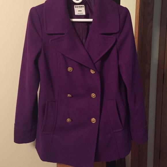 60% off Old Navy Jackets & Blazers - Dark Purple Wool Pea Coat sz ...