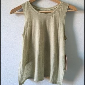 Knot sisters green reverse high low tank new