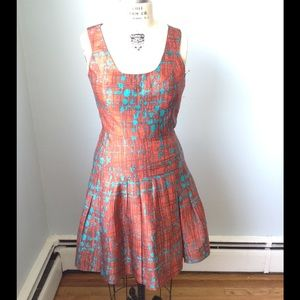 Oscar de la Renta Stunning Orange& Teal Silk Dress