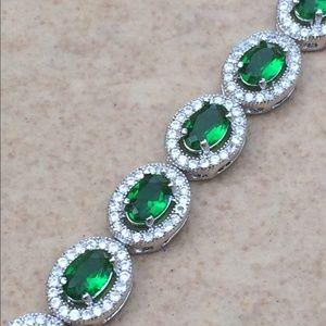 Rhodium Plated Emerald CZ Halo Tennis Bracelet