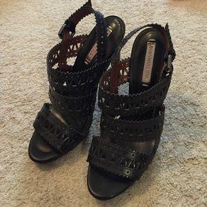 BCBG Black Leather Strappy Cutout Heels Size 10