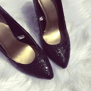 Shoes - Black Glitter heels