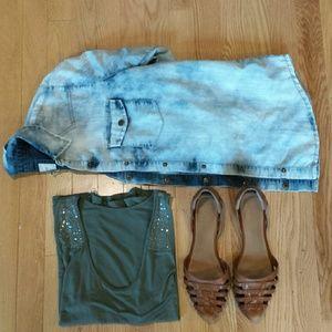 Acid wash denim shirt