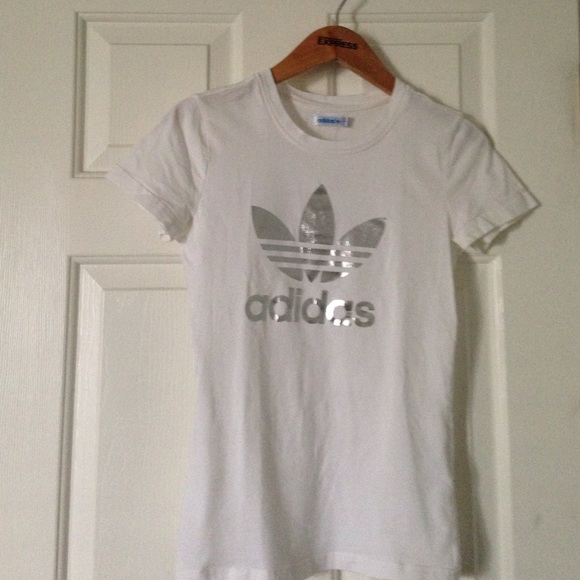 71% off Adidas Tops - White and silver Adidas logo shirt from ...
