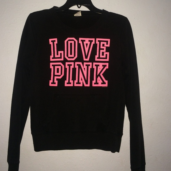 Black sweater with pink words