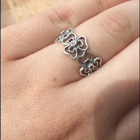 Pandora Jewelry Retired Silver And Pink Cz Flower Ring