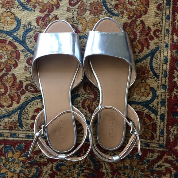 cde150f7a Forever 21 Shoes - Silver ankle strap flat sandals