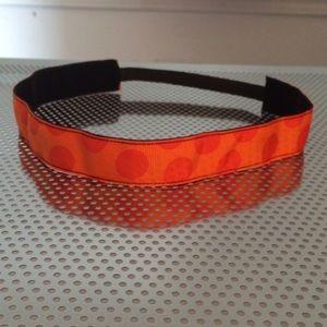 Orange polka dot non-slip headband