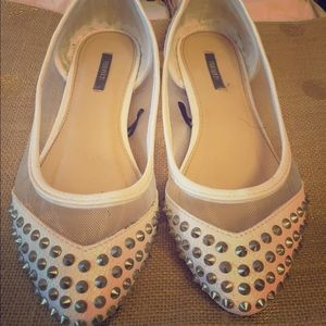 Forever 21 Shoes - Forever 21 White Studded Flats